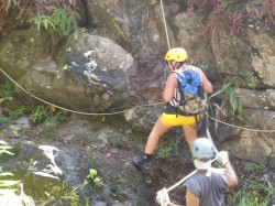 GEtting ready to Rappel Down a Waterfall on Maui!