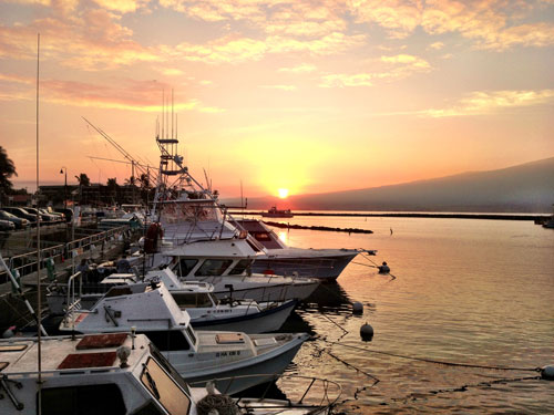 Sunrise, deep sea fishing Maui