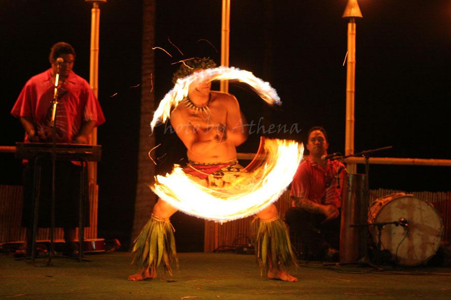 Samoan Fire Knife Dancer in Hawaii.